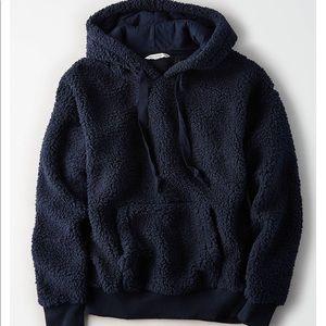 AEO navy teddy sherpa hoodie